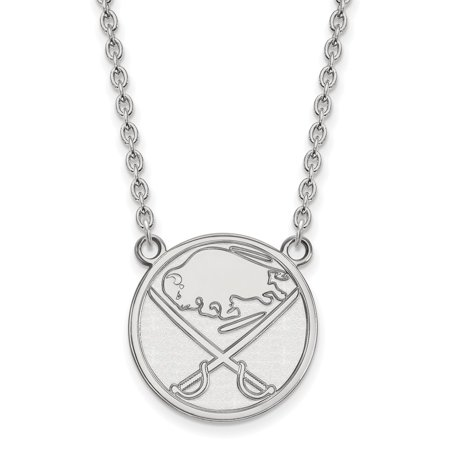 Solid 10k White Gold NHL Buffalo Sabres Large Pendant with Necklace
