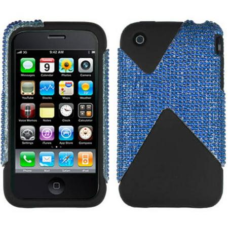 Apple Iphone 3g Wall (Apple iPhone 3G MyBat Protector Case, Blue Diamante Dual Diamante)