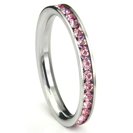 316L Stainless Steel Pink Cubic Zirconia CZ Eternity Wedding 3MM Band Ring Sz 7