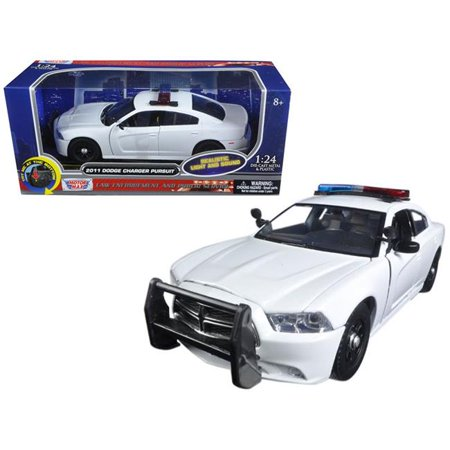 2011 Dodge Charger Pursuit Police Car White w/Flashing Light Bar,Front,Rear Lights, 2 Sounds 1/24 Diecast Model