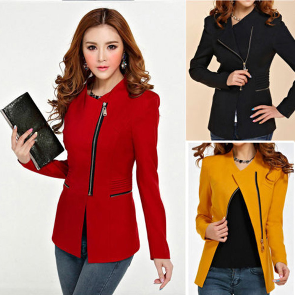 EFINNY Fashion Women Casual Long Sleeve Solid Slim Zipper Suit Coat Jacket Blazer Tops Outwear Office