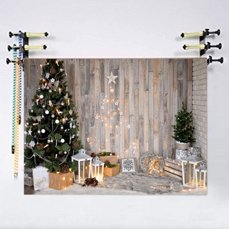 NK HOME 7x5ft Christmas Theme Blue Tree Stove Sock Fireplace Gift Xmas Party Photograhy Christmas Backdrop for Pictures Dector Background Photo Studio - Photo Props For Christmas