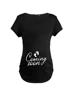 AkoaDa Coming Soon 2020 Maternity Short Sleeve T-Shirt Pregnant Women Letter Printing Funny Mother T Shirt Pregnancy Clothing Tops