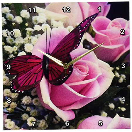 3dRose Image of a Pink Butterfly, Wall Clock, 13 by 13-inch