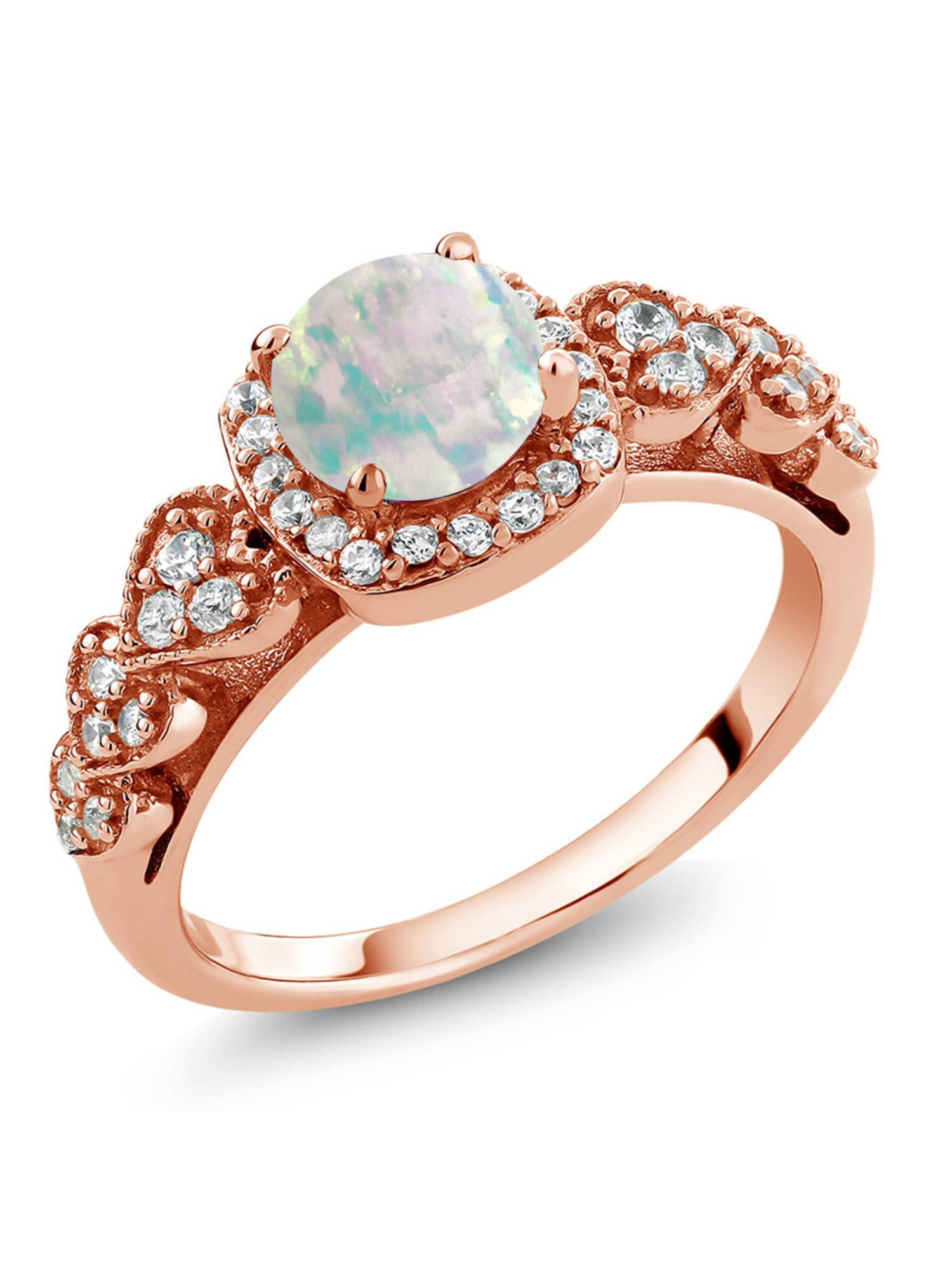 0.62 Ct Round Cabochon White Simulated Opal 18K Rose Gold Plated Silver Ring by