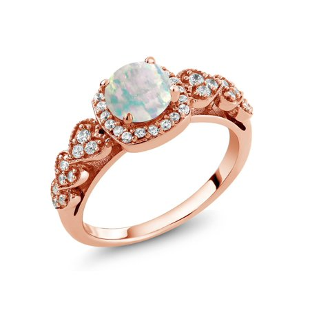 0.62 Ct Round Cabochon White Simulated Opal 18K Rose Gold Plated Silver Ring