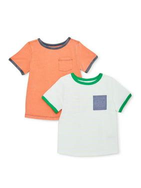 Wonder Nation Baby & Toddler Boy Solid & Striped T-shirts, 2 pack
