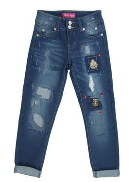 LQ-914 - Girls' Stretch, Patchwork, Rip and Repair Premium Skinny Jeans