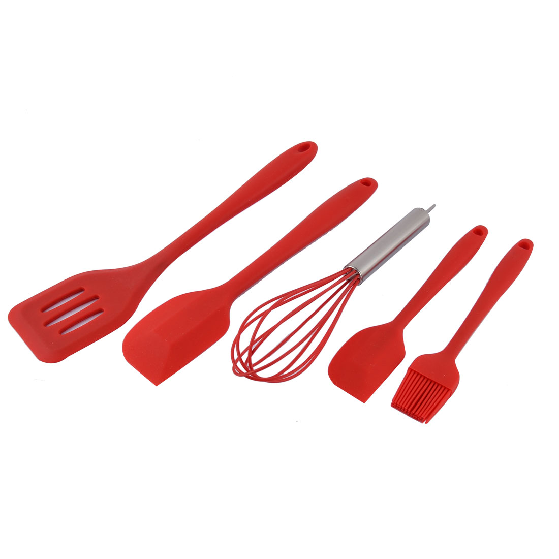 Silicone Heat Resistant Spatula Brush Whisk Baking Tool Utensil Set Red 5 in 1
