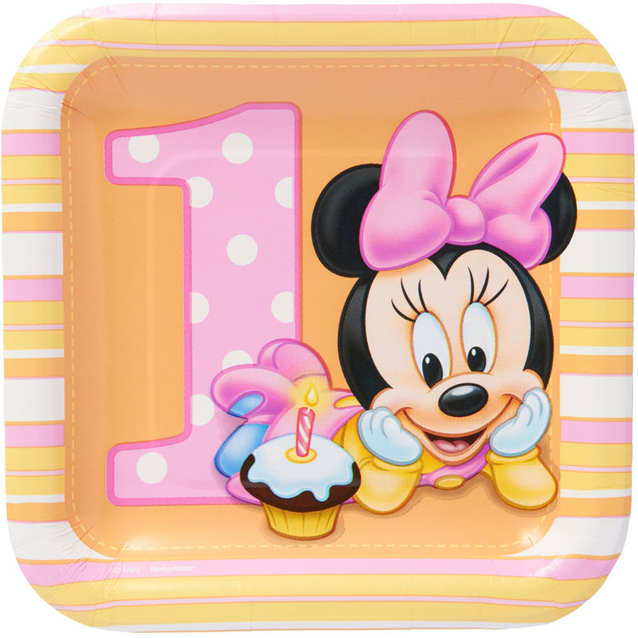"""Minnie Mouse First Birthday 7"""" Square Plate, 8 Count, Party Supplies"""