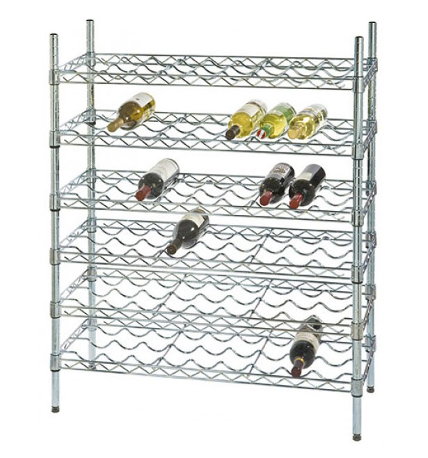 "14"" Deep x 48"" Wide x 54"" High 6 Chrome Shelf Single Wine Rack with 72 Bottle Storage Capacity"