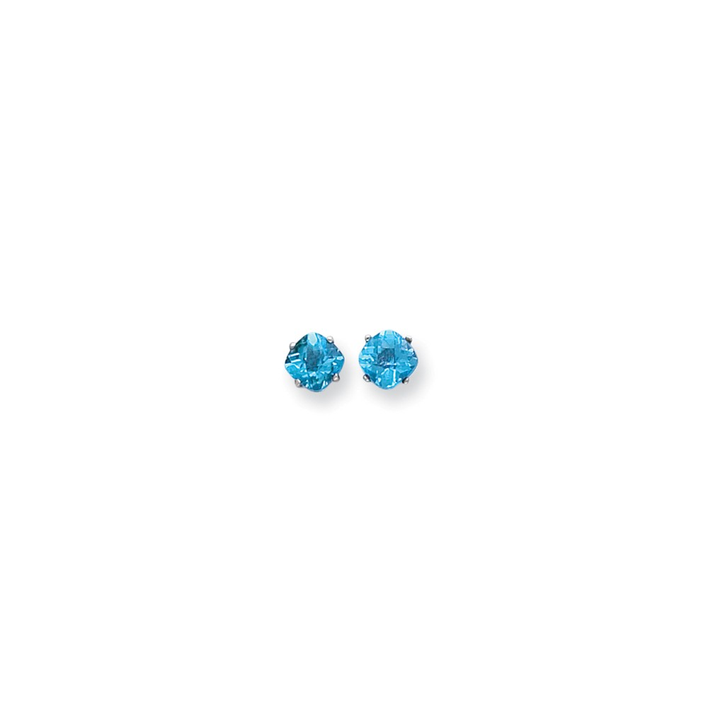 14k 2.1ct White Gold 6x6mm Cushion Blue Topaz Checkerboard Gemstone Earrings