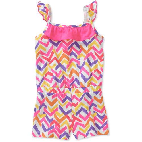Healthtex Baby Girls Chevron Print Ruffle Knit Romper