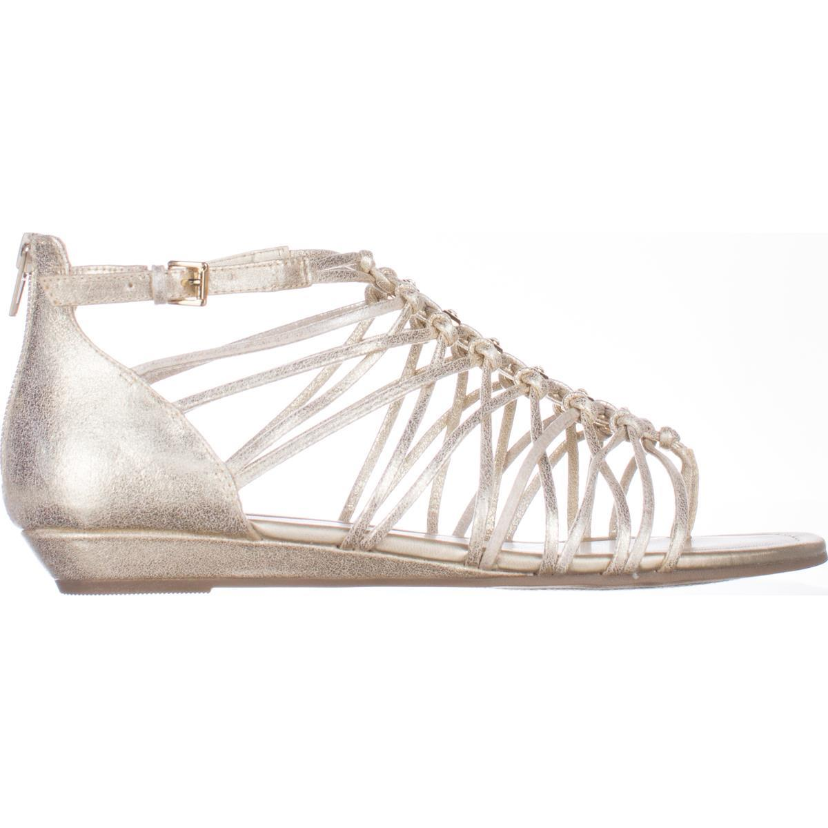 25bcc0e56a67a Guess - Womens G by GUESS Jonsie Flat Strappy Sandals - Gold - Walmart.com