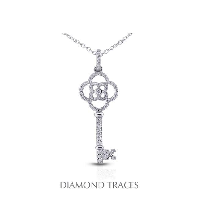 Diamond Traces 0.63 Carat Total Natural Diamonds 14K White Gold Pave Setting Key Fashion Pendant