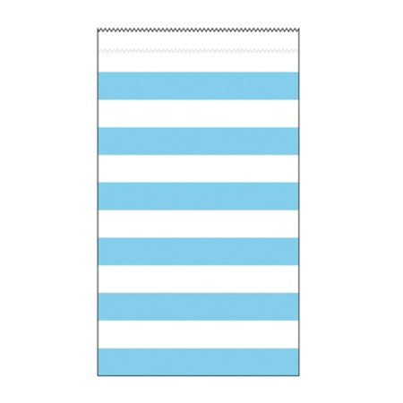 Club Pack of 180 Pastel Blue and White Striped Medium Decorative Paper Party Treat Bags 7.75
