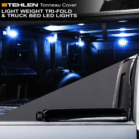 Hard Truck Bed Tonneau Covers - Stehlen 733469489788 Light Weight Hard Tri-Fold Tonneau Cover with Truck Bed LED Lights For 01-03 Ford F150 Super Crew ( Crew ) Cab 5.5 Feet ( 66