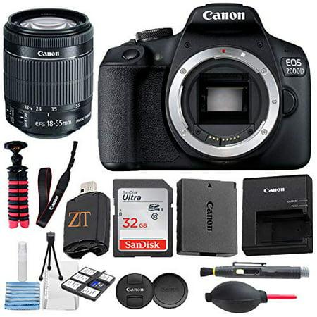 Canon EOS 2000D (Rebel T7) Digital DSLR Camera With 24.1MP Sensor, WiFi, 18-55mm Lens, Sandisk 32GB Memory Card, Tripod, Accessory Bundle