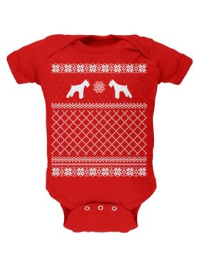 b7e04fc1e47447 Product Image Schnauzer Ugly Christmas Sweater Red Soft Baby One Piece