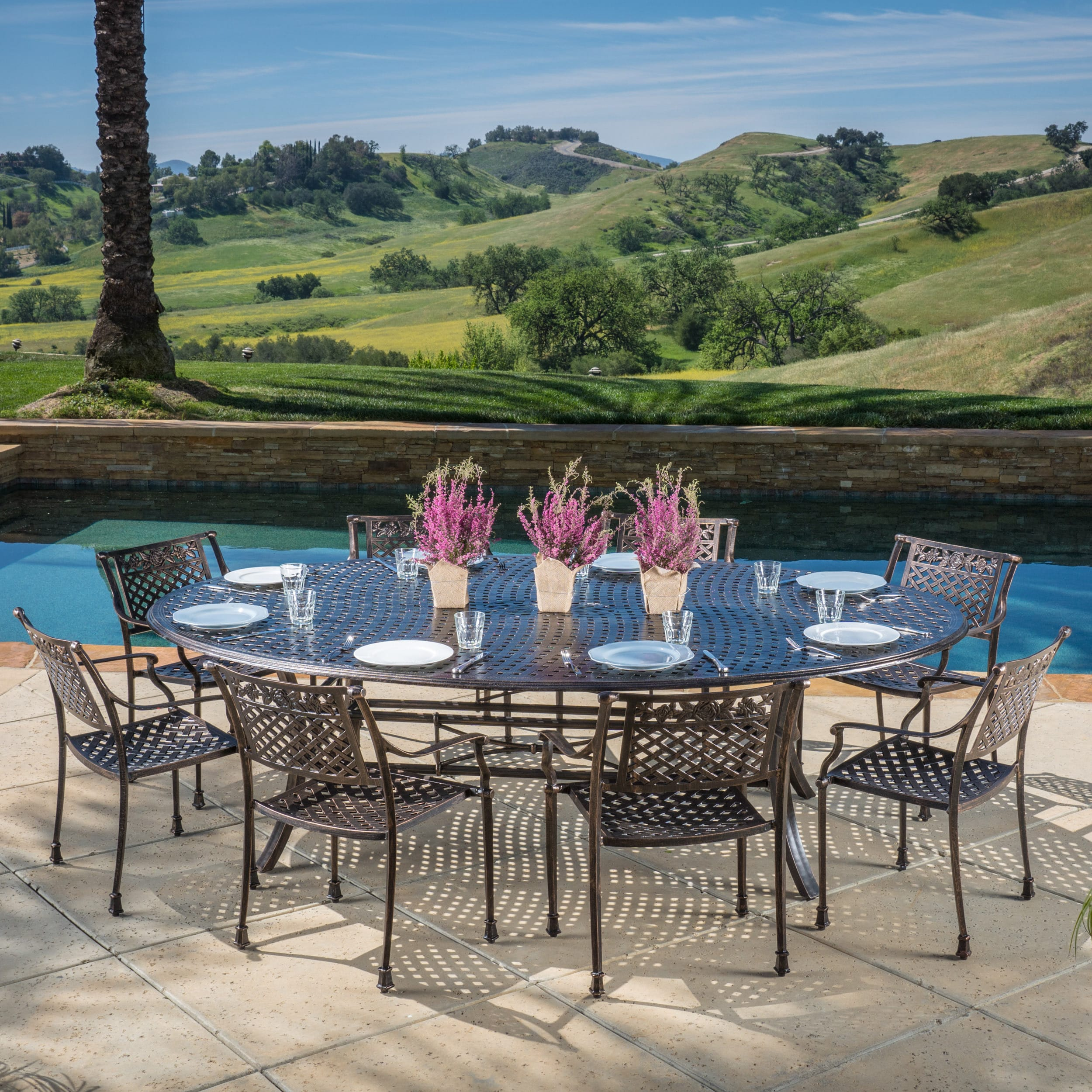 Zoe Outdoor 9 Piece Finished Aluminum Oval Dining Set, Shiny Copper