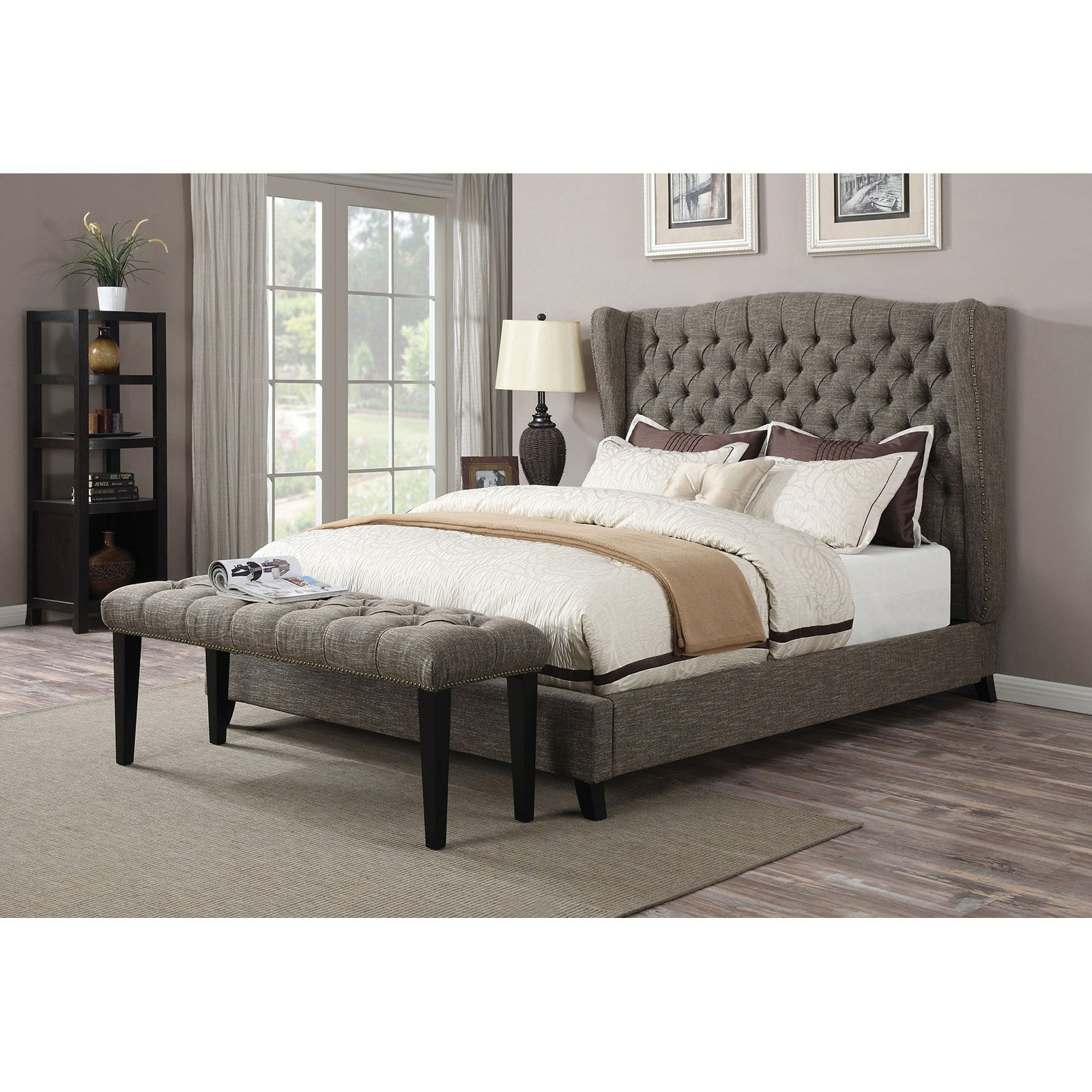 ACME Furniture Faye 2-Tone Chocolate Linen Bench