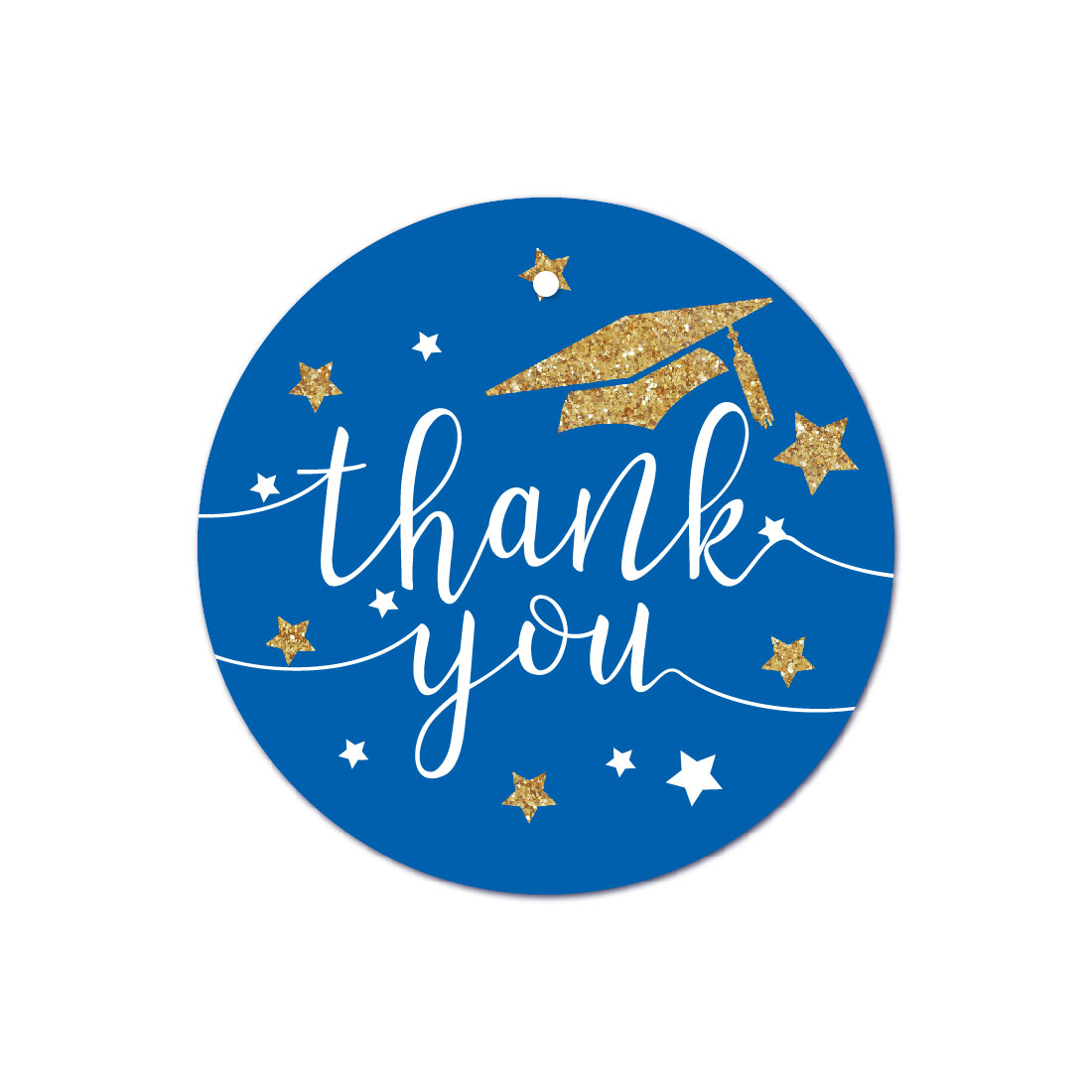 Royal Blue and Gold Glittering Graduation, Round Circle Gift Tags, Thank You!, 24-Pack
