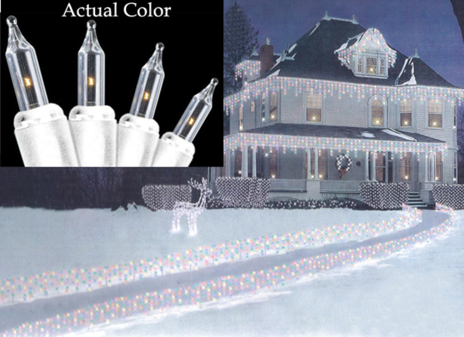 set of 100 clear mini icicle christmas lights white wire walmartcom - White Icicle Christmas Lights