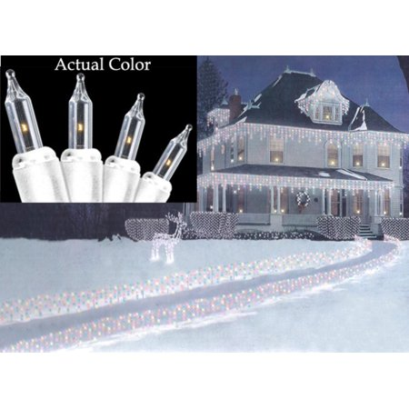 Set of 100 Super Bright Clear Mini Icicle Christmas Lights - White ...