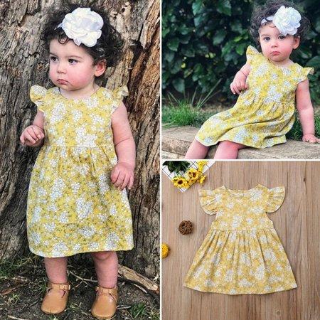 Cute Newborn Kids Baby Girls Flowers Princess Dress Sundress Outfit Clothes One Piece