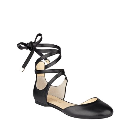 Ivanka Trump Damenschuhe Elise Toe Leder Closed Toe Elise Ankle Wrap Ballet Flats ... bffe43