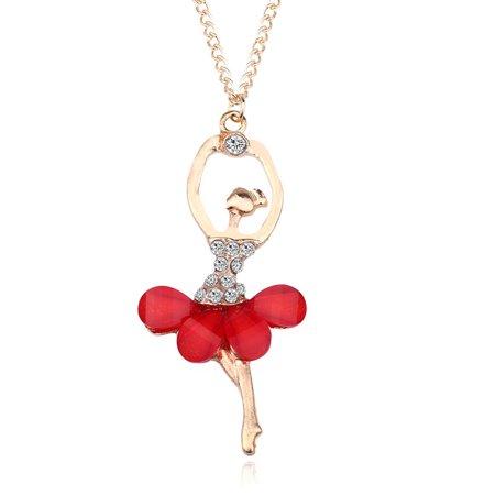Stylish Elegant Ballerina Girl Necklace Exquisite Shimmer Rhinestone Pendant Necklace Festival Birthday Gift - Red Rhinestone Necklace