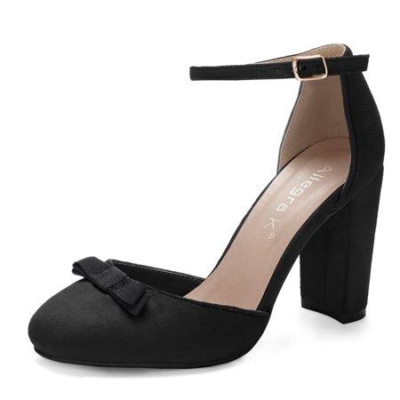 Heel Bow Pump - Unique Bargains Women's Block Heel Round Toe Bow Decor Ankle Strap Pumps