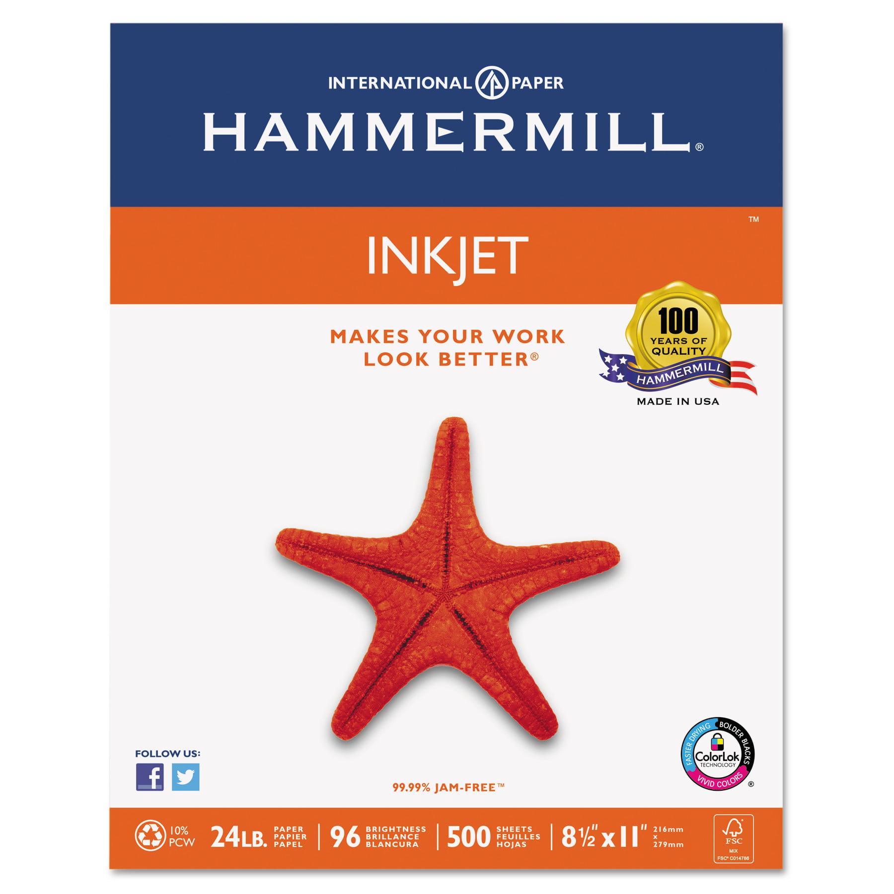 Hammermill Inkjet Paper, 8.5x11 In, 96 Bright, 24lb, 500 Sheets/Ream