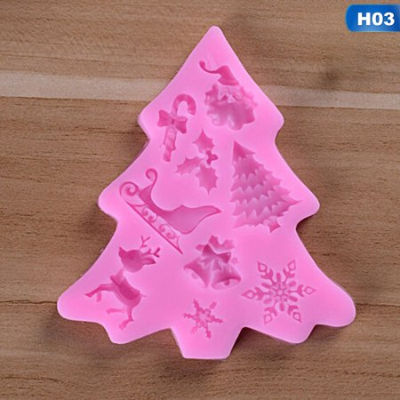 AkoaDa 3D Christmas Theme Silicone Baking Molds, Non-stick Cake Molds DIY Candy Pudding Chocolate Jelly Silicone Mold Perfect for Cake Decoration(Style 13-3 Pack) (Beach Theme Candy Molds)