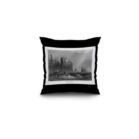 Nova Scotia  Canada   Bay Of Fundy View Of Cape Split  16X16 Spun Polyester Pillow  Black Border