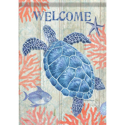 Carson Home Accents Swimming Sea Turtle 2 Sided Polyester Garden Flag Walmart Com Walmart Com