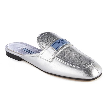 Prada Women's Leather Mule Loafer Shoes Silver