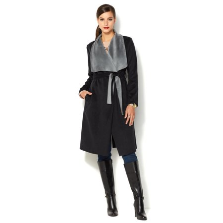 - IMAN Global Chic Women Runway Glam Luxury Wrap Coat Jet BLACK Size Large