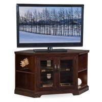 """Leick Home 46"""" Corner TV Stand w/Bookcase for TV's up to 50"""", Chocolate Cherry and Bronze Glass"""