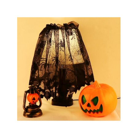 Topumt Halloween Spider Web Lace Curtain Bat Fireplace Scarf