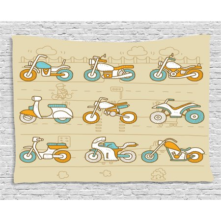 Urban Tapestry, Hand Drawn Motorcycles on City Traffic Background ...