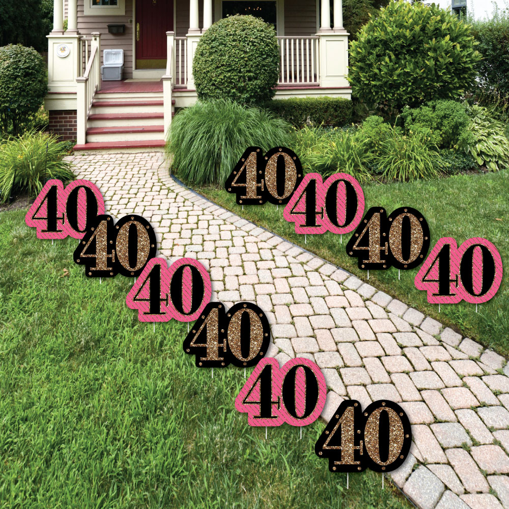 Chic 40th Birthday - Pink, Black and Gold Lawn Decorations - Outdoor Birthday Party Yard Decorations - 10 Piece