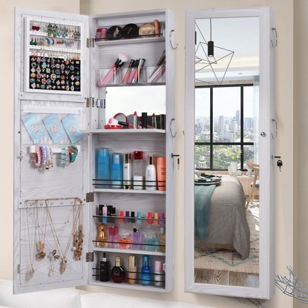 Ktaxon Mirrored Jewelry Armoire Wall Cabinet Storage Makeup Organizer Hang Mount White ()