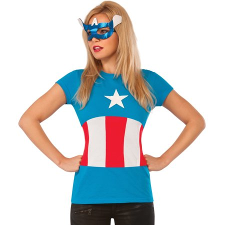 Womens Adult American Dream T-Shirt And Mask Set Costume (Costumes Letter T)