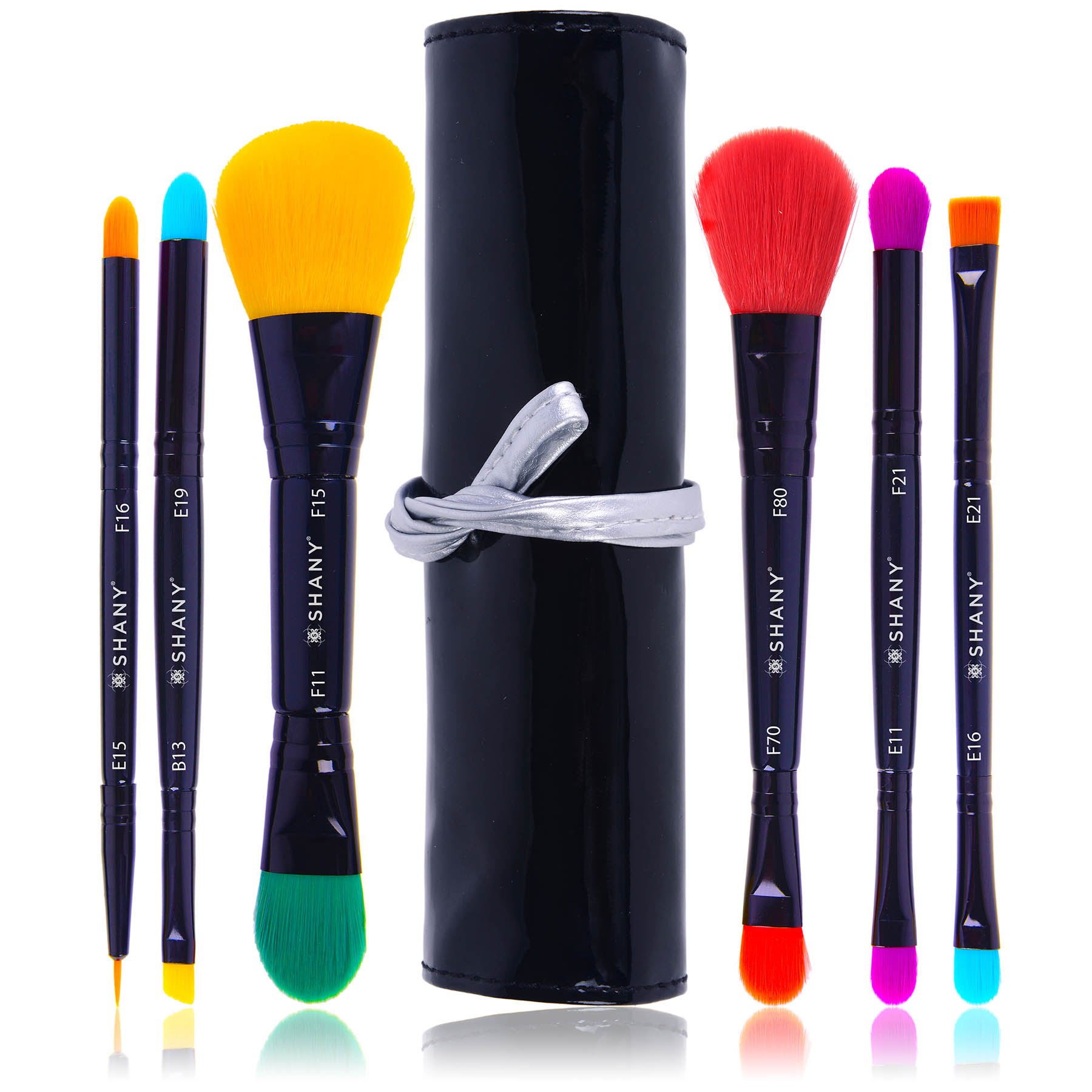 SHANY LUNA Double Sided Travel Make Up Brush Set with Pouch (6 Count)