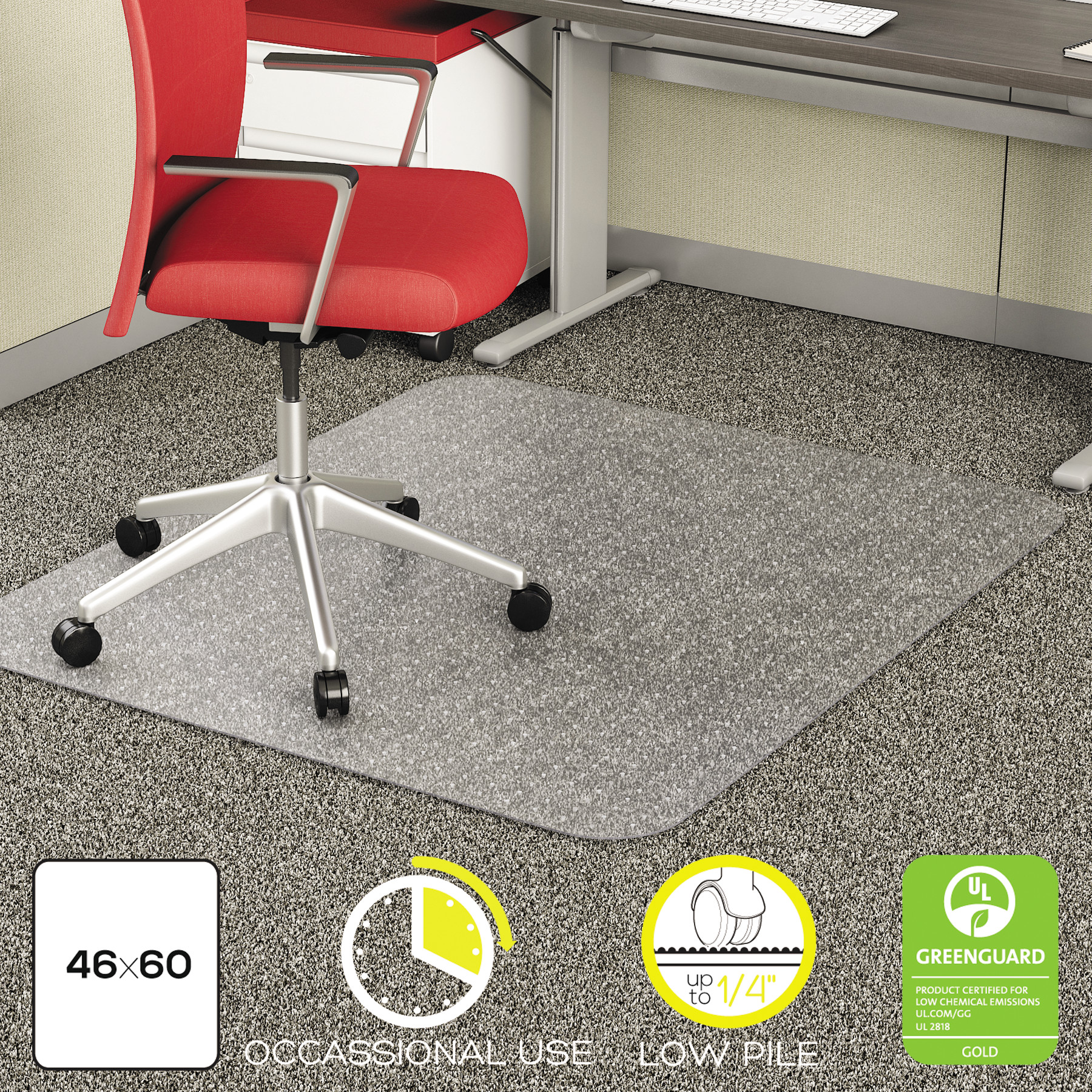 Deflecto EconoMat 46 x 60 Chair Mat for Low Pile Carpet, Rectangular