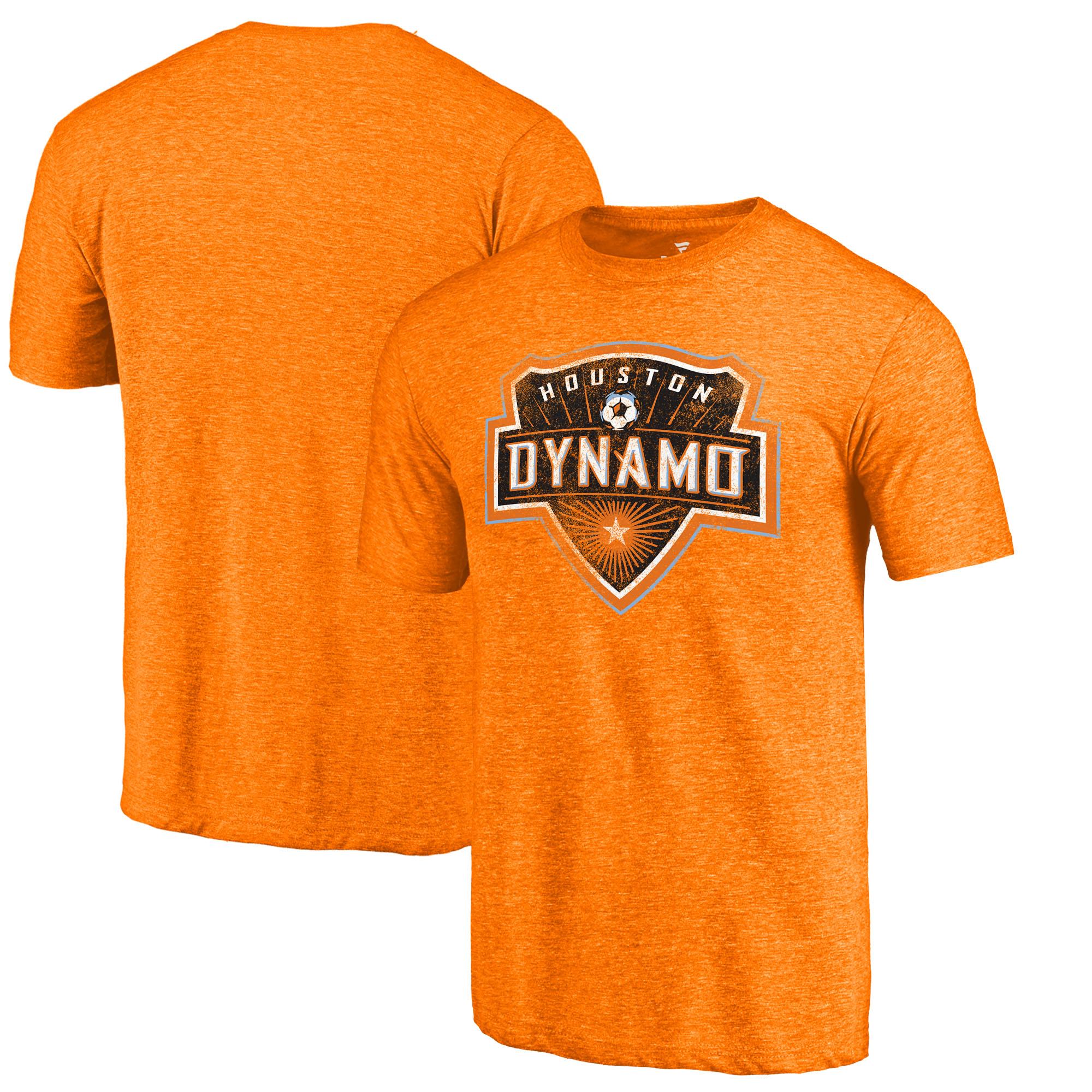 Houston Dynamo Fanatics Branded Distressed Primary Logo Tri-Blend T-Shirt - Orange
