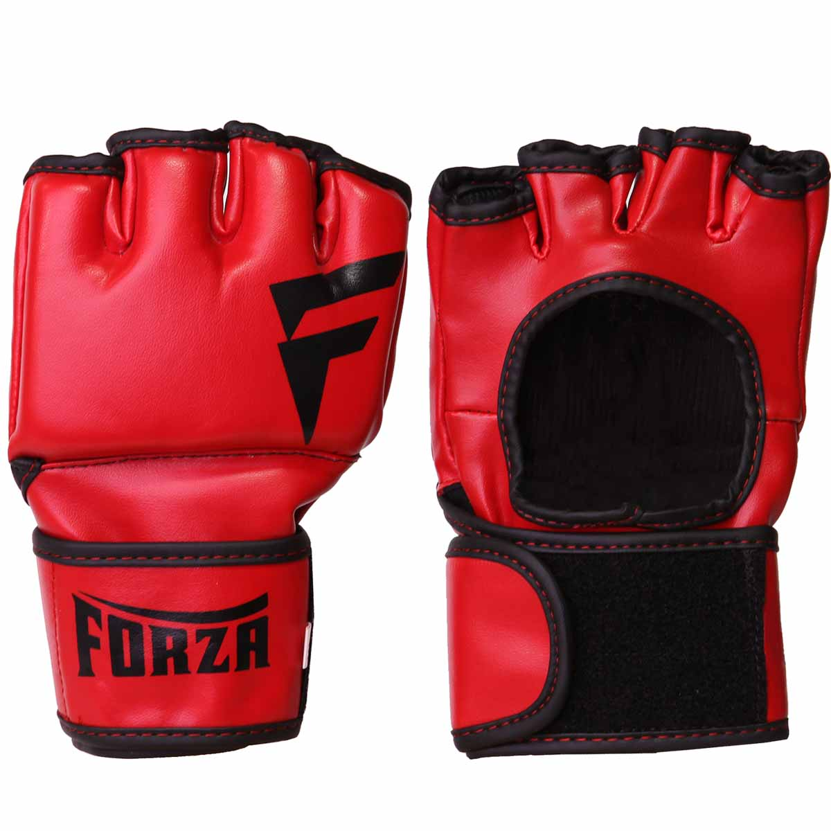 Forza Vinyl MMA Training Gloves - Red/Black