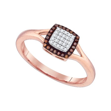 10kt Rose Gold Womens Round Red Color Enhanced Diamond Square Cluster Split-shank Ring 1/8 Cttw
