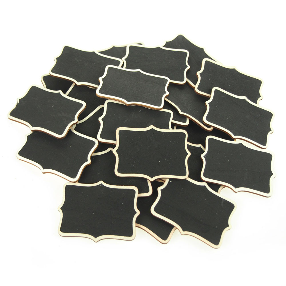 Chalkboard Wooden Scalloped with Natural Border, 3-inch, 25-Piece